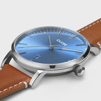 CLUSE Aravis leather silver blue/light brown CW0101501005 - Watch case detail