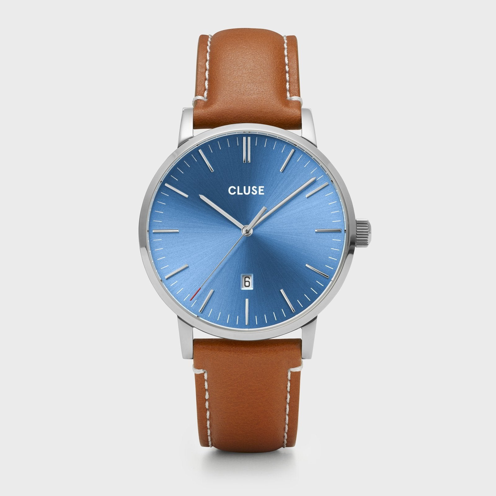 CLUSE Aravis leather silver blue/light brown CW0101501005 - Watch