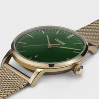 CLUSE Aravis mesh gold green/gold CW0101501006 - Watch case detail