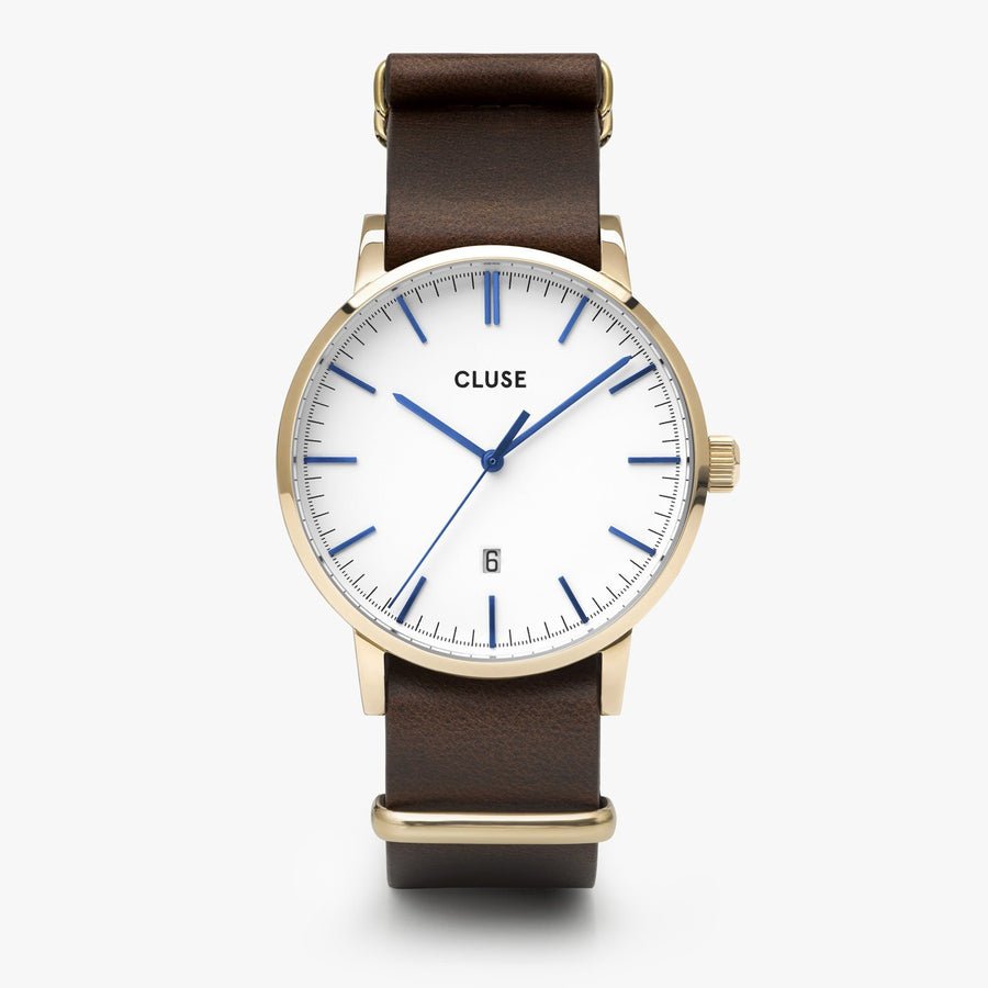 CLUSE Aravis nato leather gold white/dark brown CW0101501007 - Watch