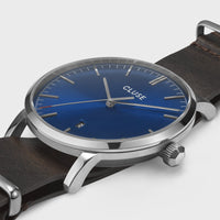 CLUSE Aravis nato leather silver dark blue/dark brown CW0101501008 - Watch case detail