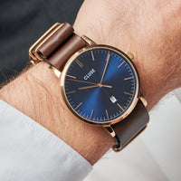 CLUSE Aravis nato leather rose gold dark blue/dark brown CW0101501009 - Watch on wrist