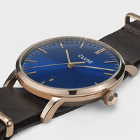 CLUSE Aravis nato leather rose gold dark blue/dark brown CW0101501009 - Watch case detail