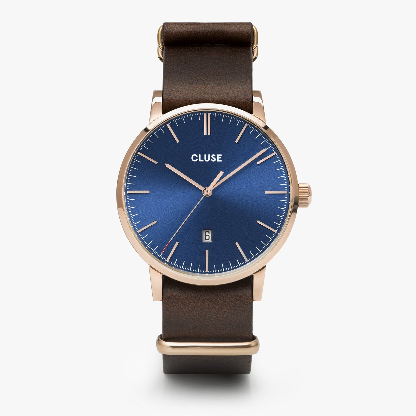 CLUSE Aravis nato leather rose gold dark blue/dark brown CW0101501009 - Watch