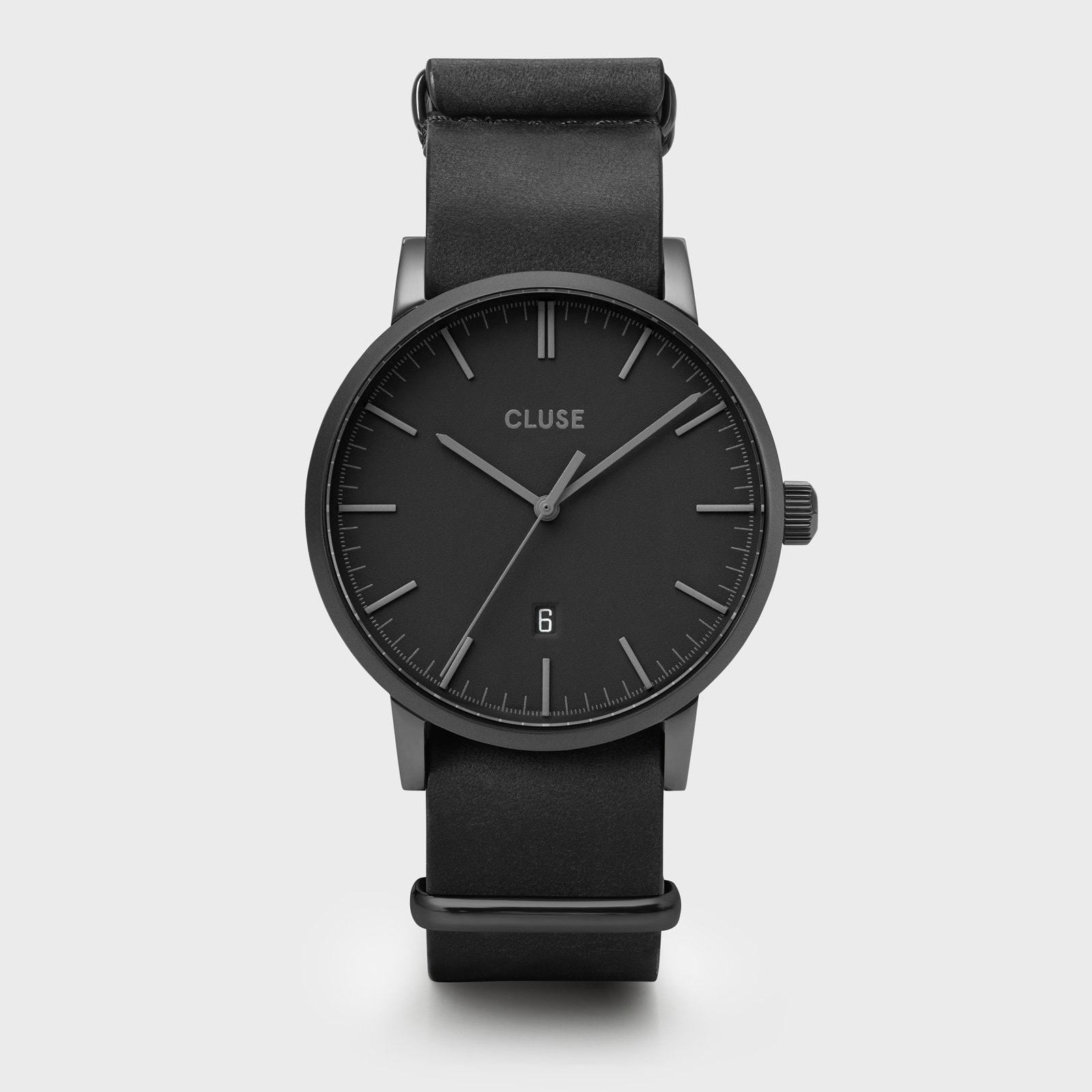 CLUSE Aravis nato leather black, black/black CW0101501010 - Watch