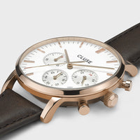 CLUSE Aravis chrono leather rose gold white/dark brown CW0101502002 - Watch case details