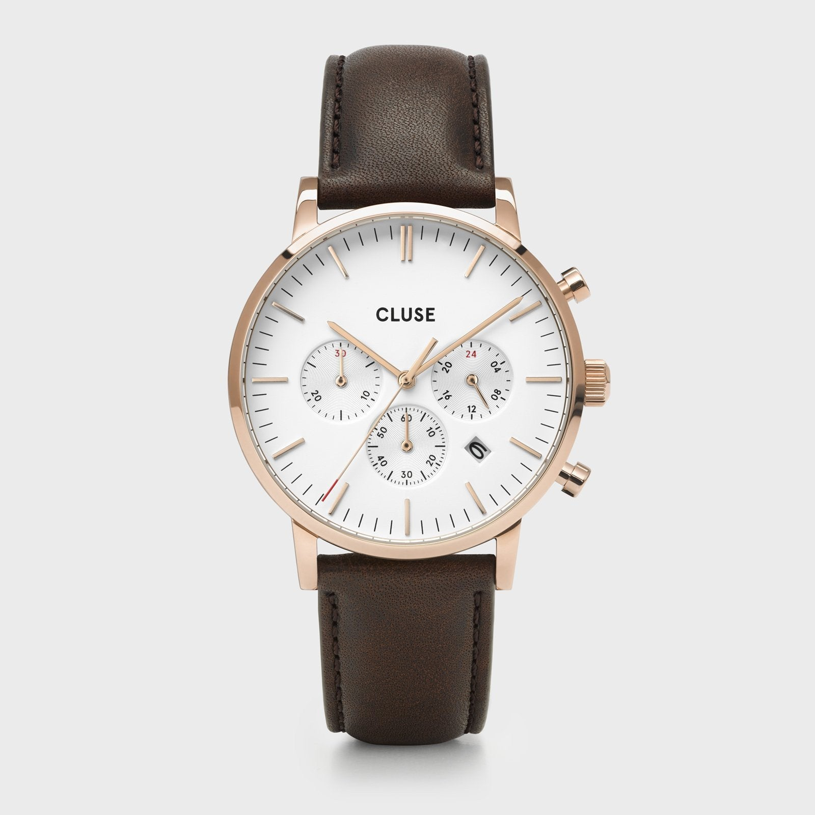 CLUSE Aravis chrono leather rose gold white/dark brown CW0101502002 - Watch