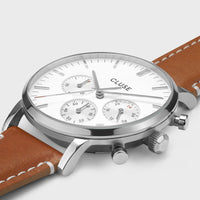 CLUSE Aravis chrono leather silver white/light brown CW0101502003 - Watch case detail