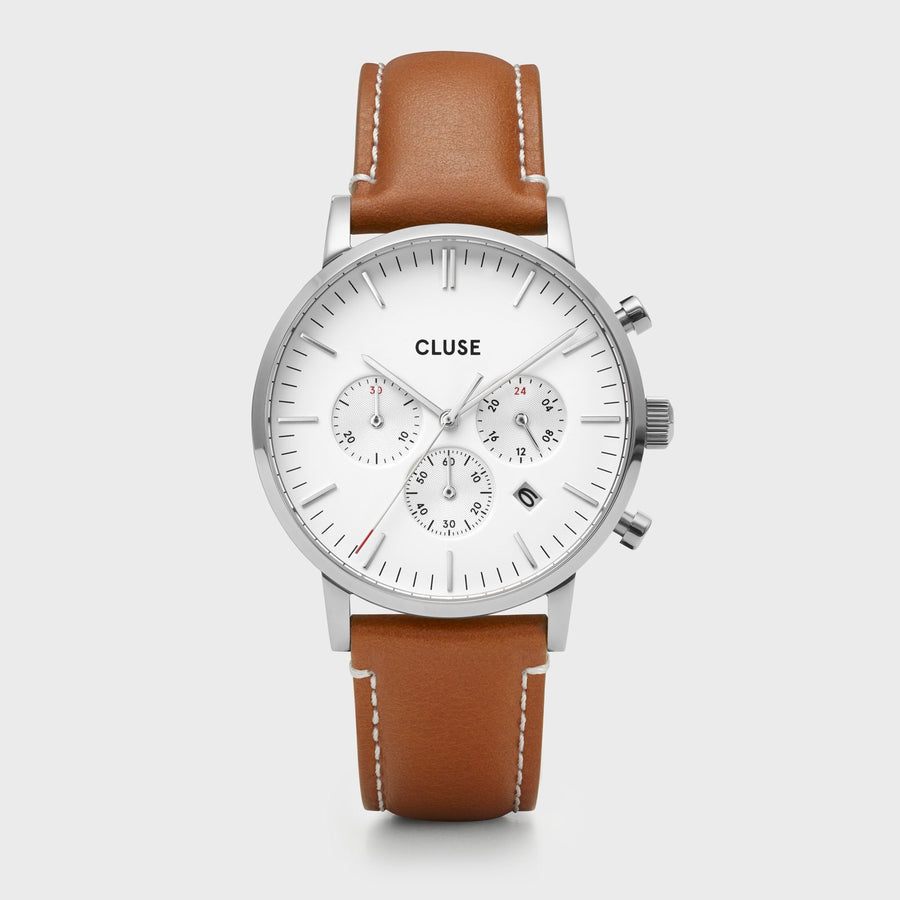 CLUSE Aravis chrono leather silver white/light brown CW0101502003 - Watch