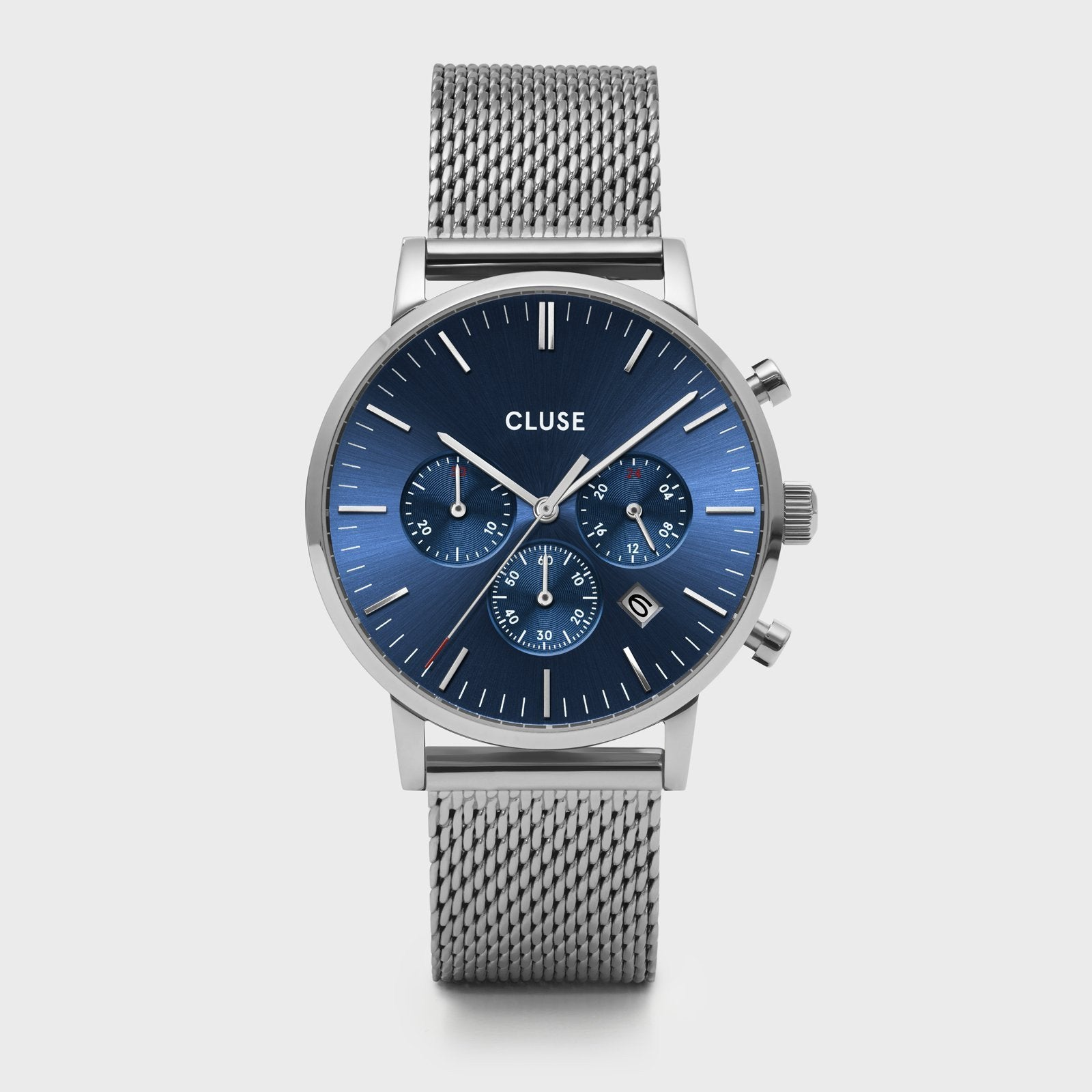 CLUSE Aravis chrono mesh silver dark blue/silver CW0101502004 - Watch