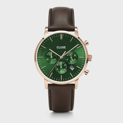 eeb3c9034 Image: CLUSE Aravis chrono leather rose gold green/dark brown CW0101502006  - Watch ...