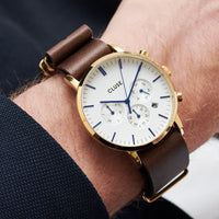 CLUSE Aravis chrono nato leather gold white/dark brown CW0101502009 - Watch on wrist