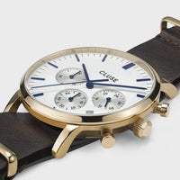 CLUSE Aravis chrono nato leather gold white/dark brown CW0101502009 - Watch case detail