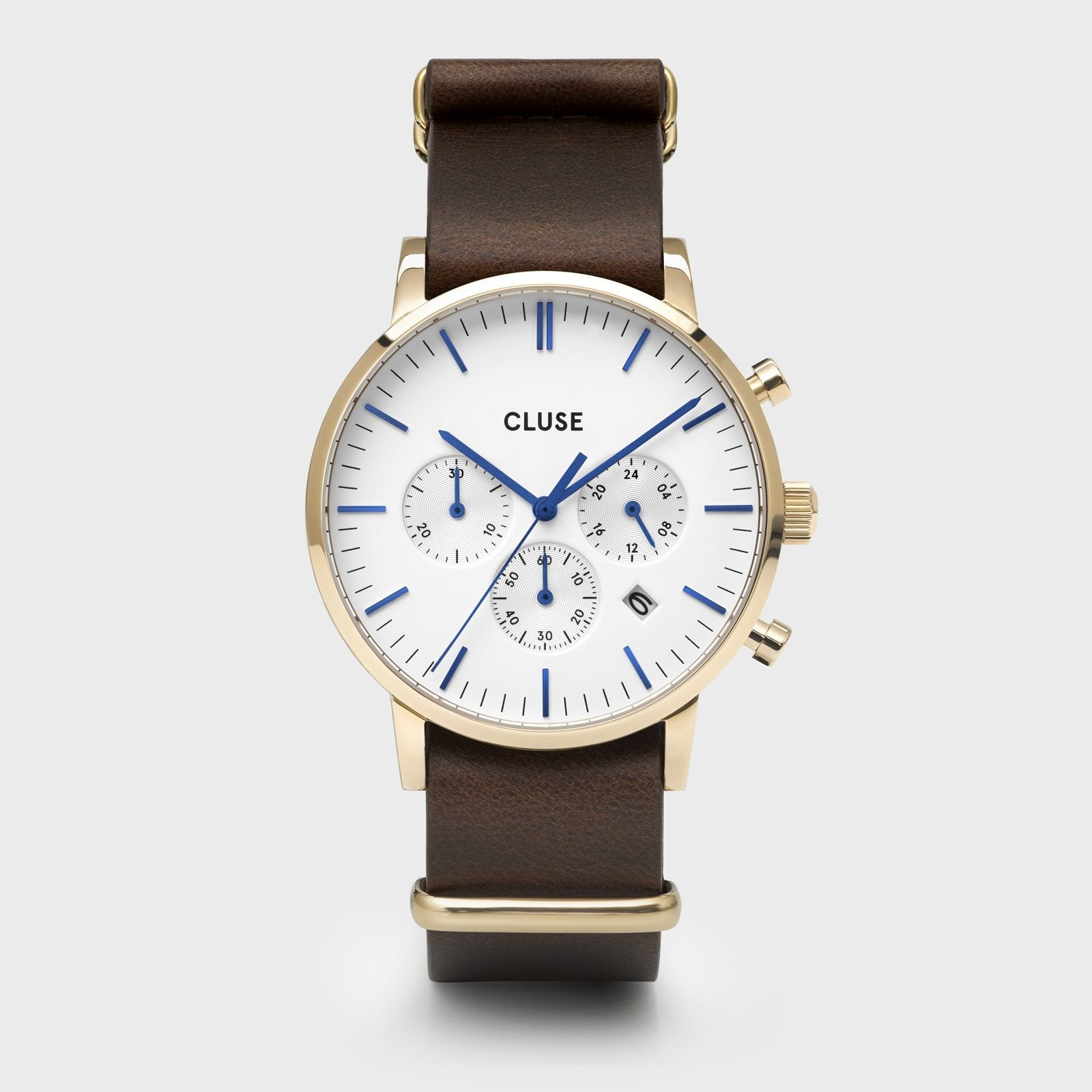 CLUSE Aravis chrono nato leather gold white/dark brown CW0101502009 - Watch