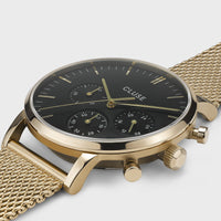 CLUSE Aravis chrono mesh gold black/gold CW0101502010 - Watch case detail