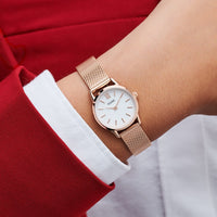 CLUSE La Vedette Mesh Rose Gold White/Rose gold CW0101206002 - Watch on wrist