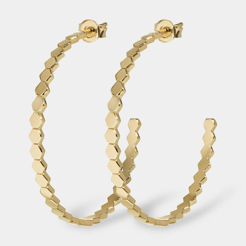 Image: CLUSE Essentielle Gold All Hexagons Hoop Earrings CLJ51008 - earrings