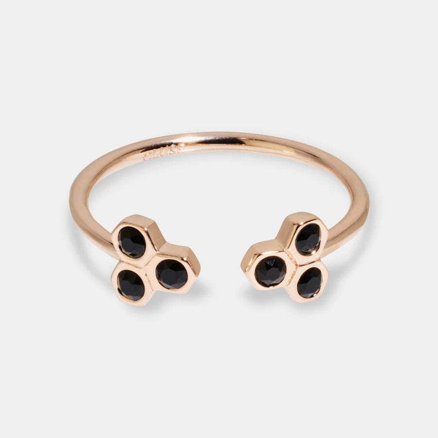 CLUSE Essentielle Rose Gold Black Crystal Hexagons Open Ring CLJ40008-52 - ring size 52