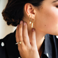 CLUSE Essentielle Gold Hexagon Stud Earrings CLJ51006 - earrings in ear