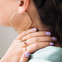 CLUSE Essentielle Gold Large Hexagonal Hoop Earrings CLJ51003 - earrings in ear