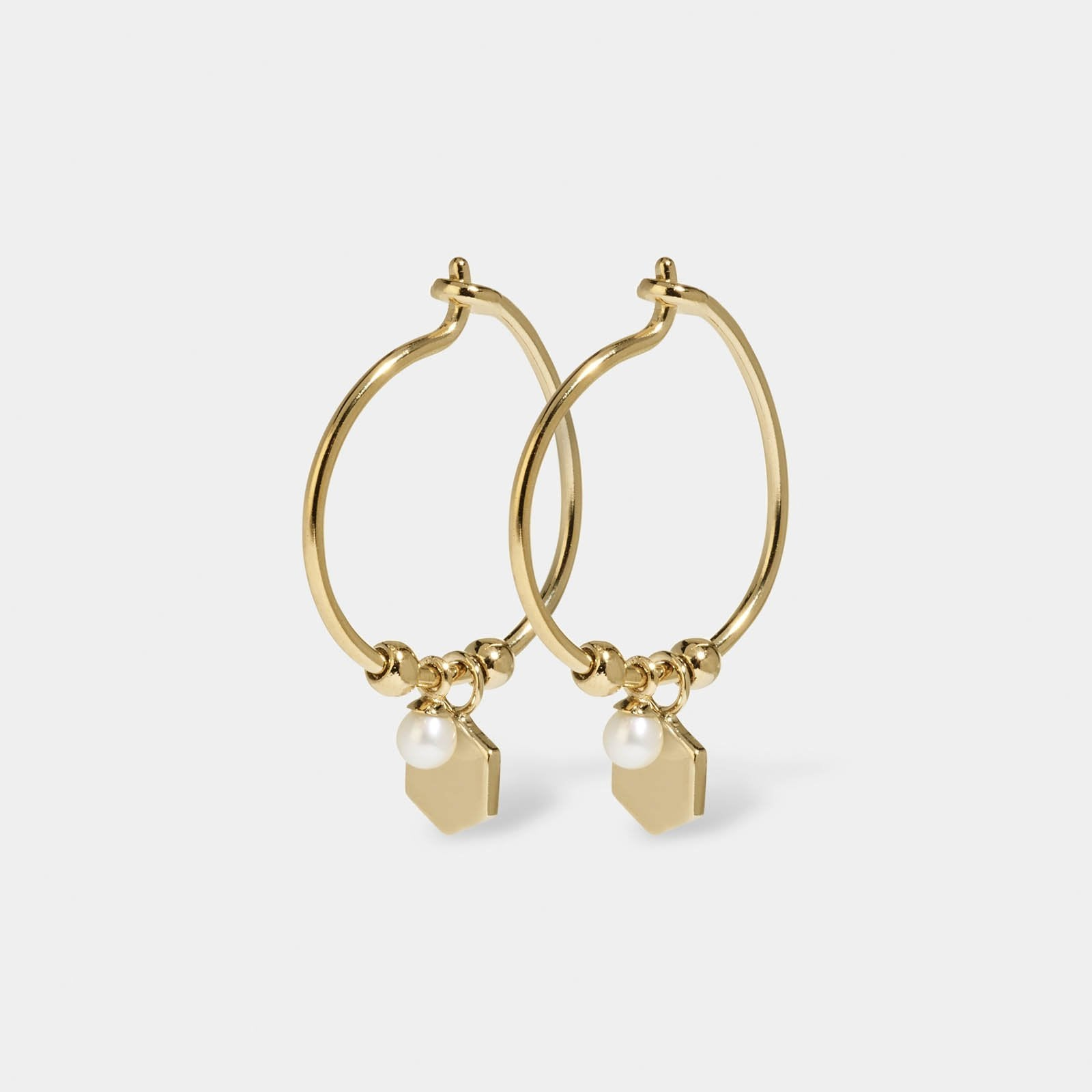 CLUSE Essentielle Gold Hexagon and Pearl Charm Hoop Earrings CLJ51002 - earrings