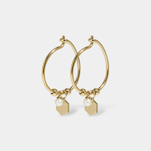 Image: CLUSE Essentielle Gold Hexagon and Pearl Charm Hoop Earrings CLJ51002 - earrings