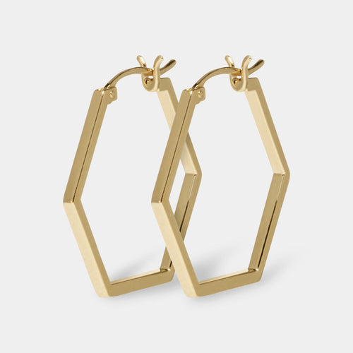 Image: CLUSE Essentielle Gold Hexagonal Hoop Earrings CLJ51004 - earrings