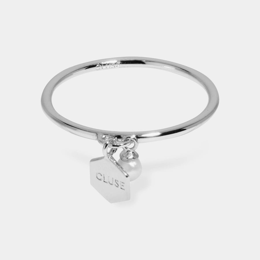 CLUSE Essentielle Silver Hexagon and Pearl Charm Ring CLJ42007-54 - ring size 54
