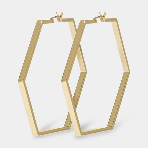 Image: CLUSE Essentielle Gold Large Hexagonal Hoop Earrings CLJ51003 - earrings