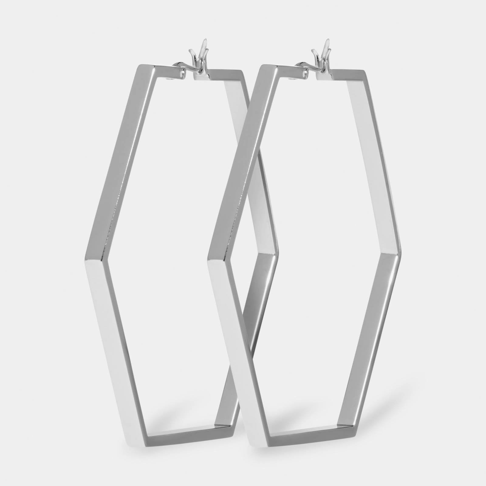 CLUSE Essentielle Silver Large Hexagonal Hoop Earrings CLJ52003 - earrings