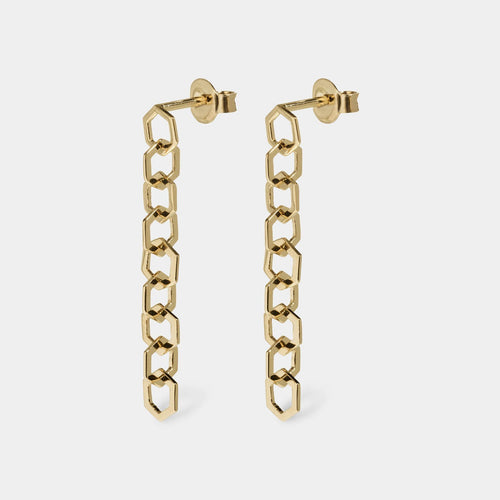 Image: CLUSE Essentielle Gold Open Hexagons Chain Earrings CLJ51009 - earrings