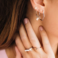 CLUSE Essentielle Rose Gold Hexagon and Pearl Charm Hoop Earrings CLJ50002 - earrings in ear