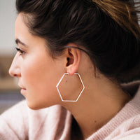 CLUSE Essentielle Rose Gold Large Hexagonal Hoop Earrings CLJ50003 - earrings in ear