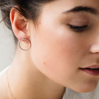 CLUSE Essentielle Rose Gold Open Circle Embellished Stud Earrings CLJ50007 - earrings in ear