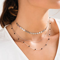 Essentielle Silver All Hexagons Choker Necklace