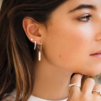 CLUSE Essentielle Silver Hexagon Ear Climber Earrings CLJ52010 - earrings in ear