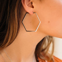 CLUSE Essentielle Silver Large Hexagonal Hoop Earrings CLJ52003 - earrings in ear