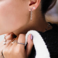 CLUSE Essentielle Silver Open Hexagons Chain Earrings CLJ52009 - earrings in ear