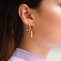 CLUSE Idylle Gold Marble Bar Hoop Earrings CLJ51001 - earrings in ear