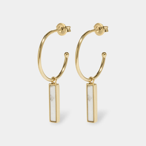 Image: CLUSE Idylle Gold Marble Bar Hoop Earrings CLJ51001 - earrings