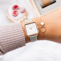 CLUSE Idylle Rose Gold Open Circle Marble Hexagon Chain Bracelet CLJ10008 - bracelet on wrist