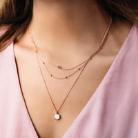 Idylle Rose Gold Marble Hexagon Pendant Necklace