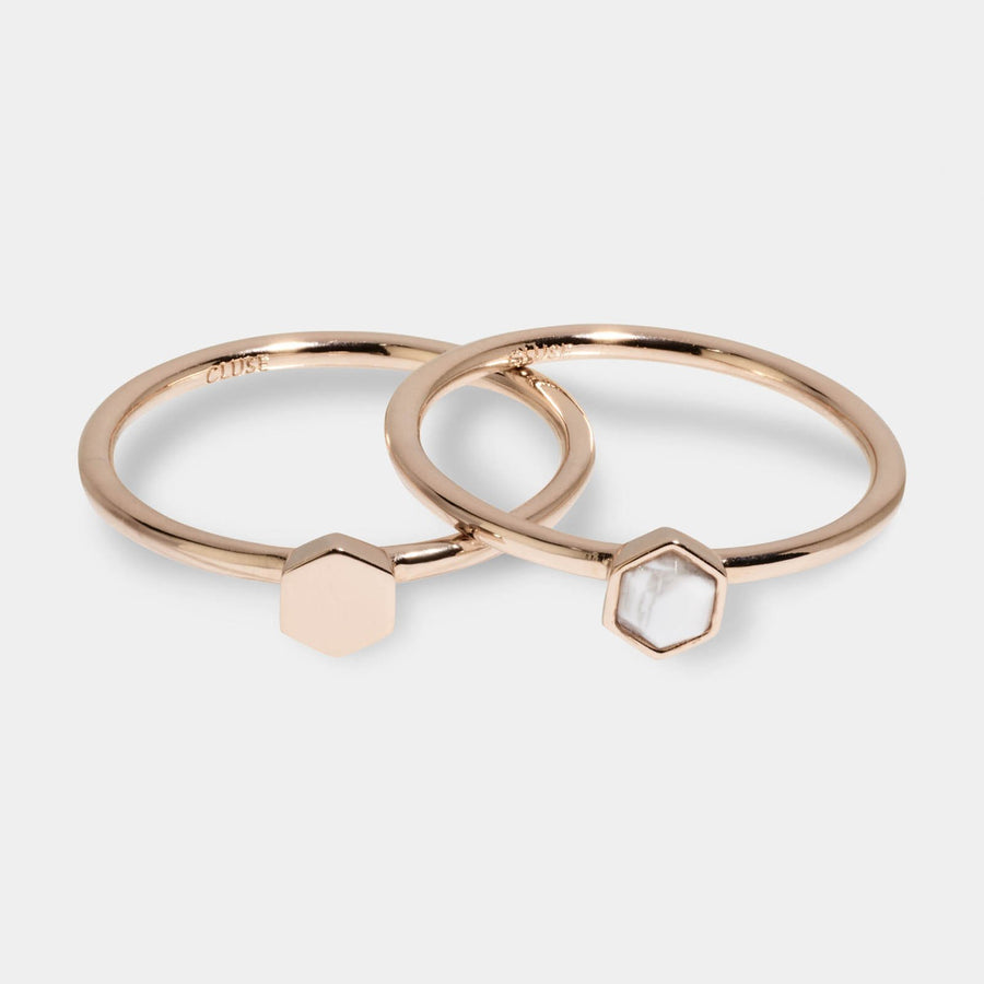 CLUSE Idylle Rose Gold Solid And Marble Hexagon Ring Set CLJ40001-52 - ring set size 52