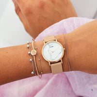 CLUSE La Roche Petite Rose Gold White Marble/Nude CL40109 - watch on wrist