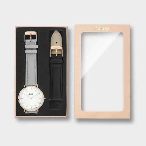 Image: CLUSE La Bohème Gift Box Rose Gold White Grey + Black Strap CLA001 - gift box packaging