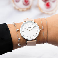 CLUSE La Bohème Silver White/Nude CL18231 - watch on wrist