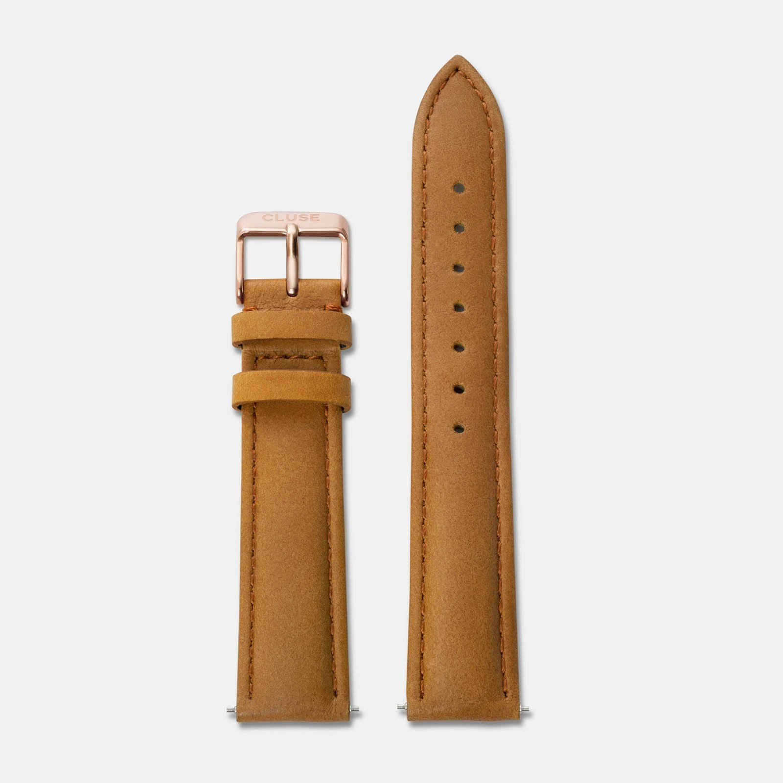 CLUSE Strap 18 mm Leather Caramel/Rose gold CS1408101002 - Strap