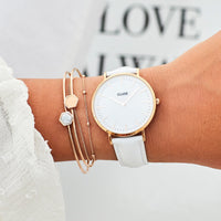 CLUSE 18 mm Strap White/Rose Gold CLS077 - strap on wrist