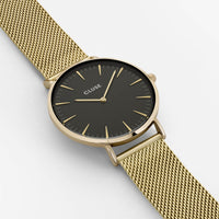 CLUSE La Bohème Mesh Gold/Black CL18110 - watch face detail