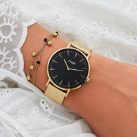 CLUSE La Bohème Mesh Gold/Black CL18110 - watch on wrist